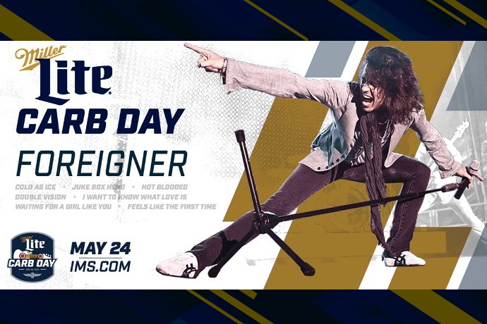A graphic announcing Carb Day headliner Foreigner. Graphic by IMS.