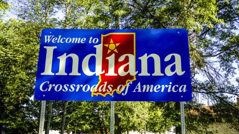 """Welcome to Indiana"" sign"