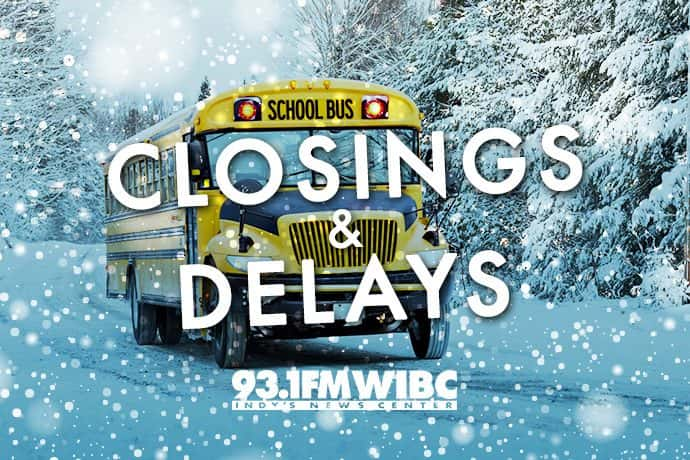 Graphic: School bus on a snowy road and text 'closings & delays'. Graphic by WIBC.