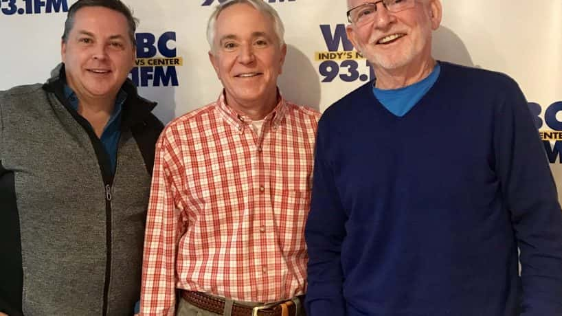 Denny Smith with Jim Ashby and Glynn Barber in front of WIBC banner. PC: WIBC