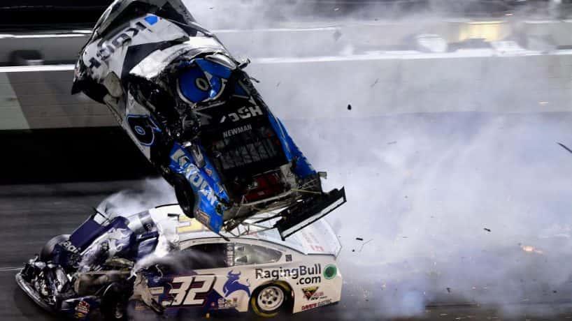 Ryan Newman's car flipping through the air