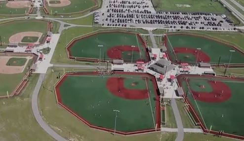 Aerial view of the baseball diamond complex at Grand Park in Westfield