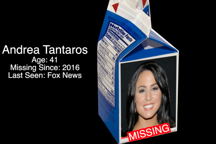 Andrea Tantaros, Journalist and Former Fox News Host, pictured on a milk carton.