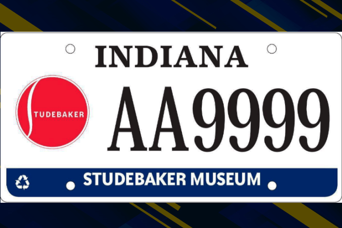The new Indiana license plate benefitting the Studebaker Museum. Photo by the Indiana BMV.
