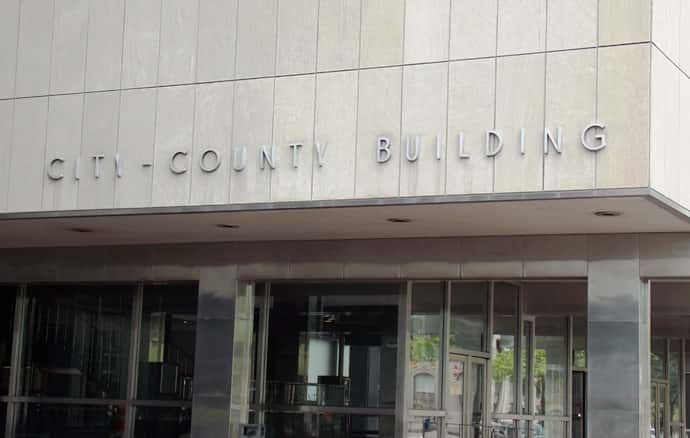 Photo of the front of the city county building in Indianapolis. WIBC Stock.