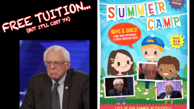 A advertisement flyer for Bernie Sanders Socialist Summer Camp.