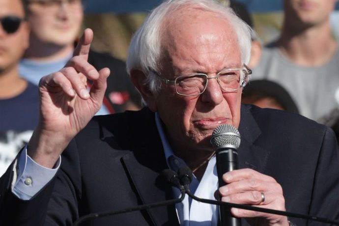 Sen. Bernie Sanders delivers comments on the campaign trail.