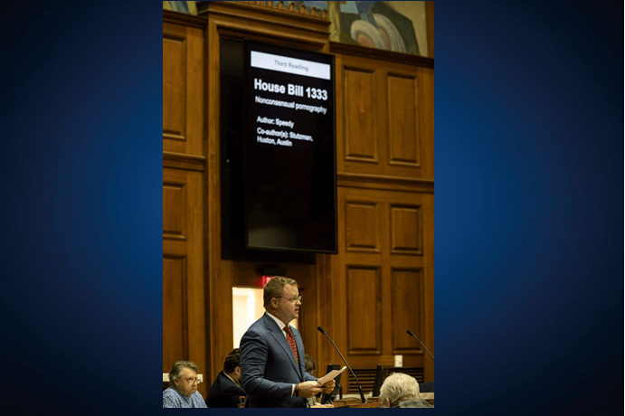 Mike Speedy talking about revenge porn bill. (Photo State Rep. Mike Speedy )