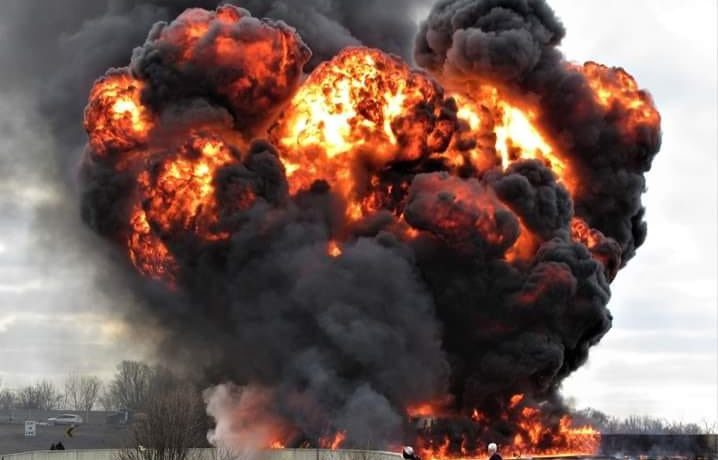 The fireball of an explosion after a fuel tanker overturned.
