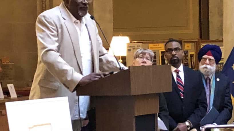 Indianapolis imam Michael Saahir addresses a hate crimes rally