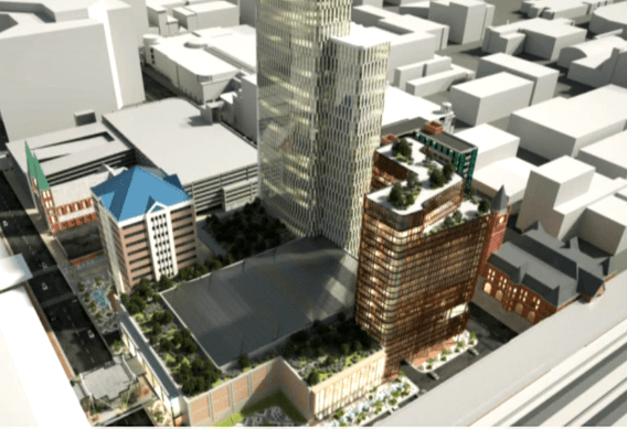 A plan for a proposed two-hotel development in downtown Indianapolis.