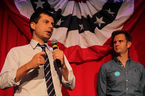 Sound Bend Indiana Mayor Peter Buttigieg talking at a Hillary Clinton watch party (PHOTO: Derek Henkle/Getty Images)