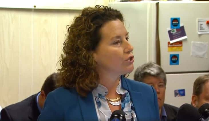 Roncalli Guidance Counselor Shelly Fitzgerald speaking to the media (PHOTO: WISH TV)