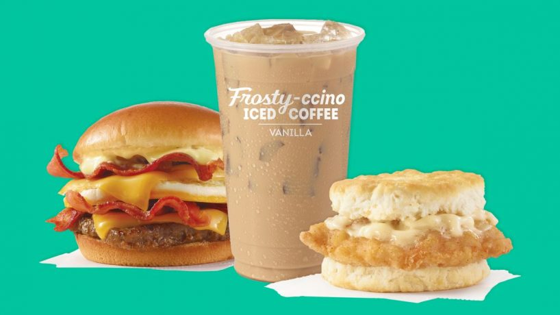 Wendy's Breakfast Baconater, Frosty-ccino, and Chicken biscuit