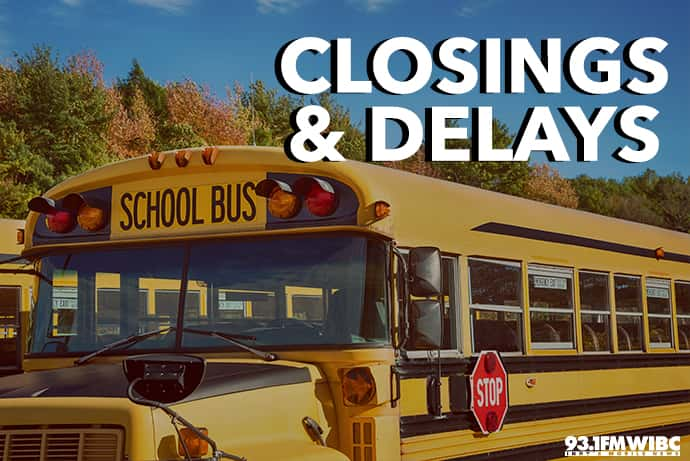 A school bus and the words, 'Closings & Delays.'