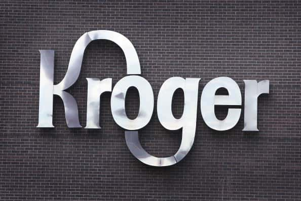 "A sign that reads ""kroger""."