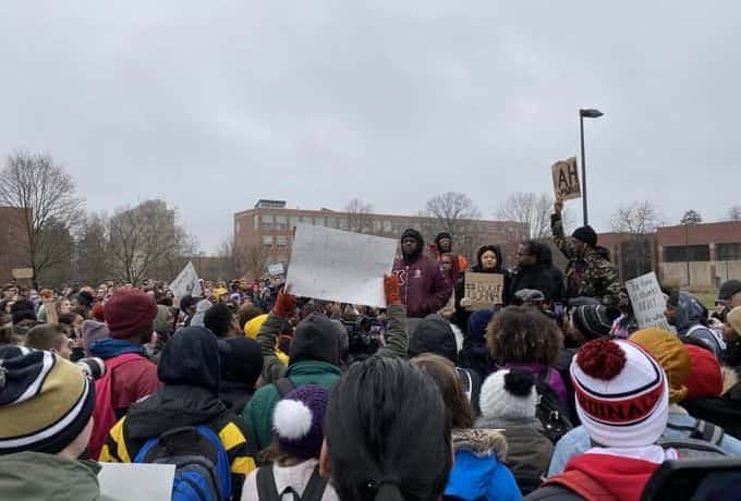 Students protest at Ball State