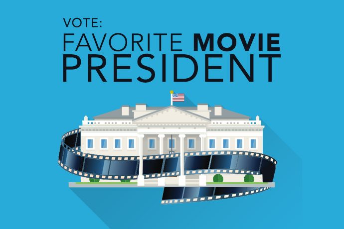A graphic of the White House and a reel of film. Text reads VOTE: Favorite Movie President. Photo by WIBC.