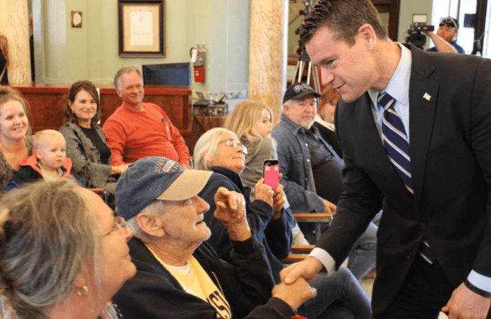 Sen. Todd Young (R) shakes the hand of Retired Sgt. Paul Lucas (L). Photo by Sen. Todd Young.