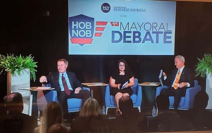 Candidates for the Mayor of Indianapolis debate issues in first debate.