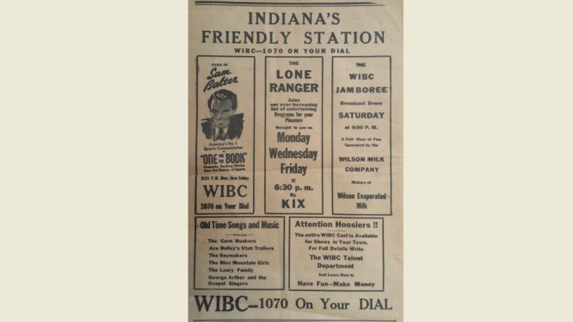 Photo of old ad from WIBC