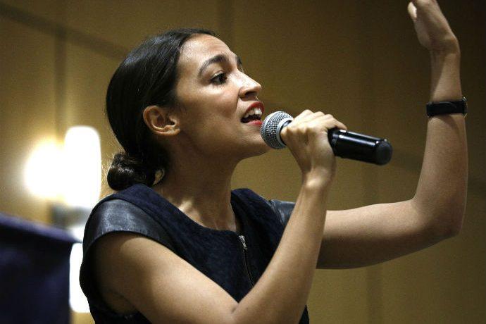 Alexandria Ocasio-Cortez speaks to large rally audience