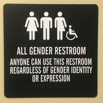 A sign on a restroom wall states that all genders and gender identities may use the restroom.