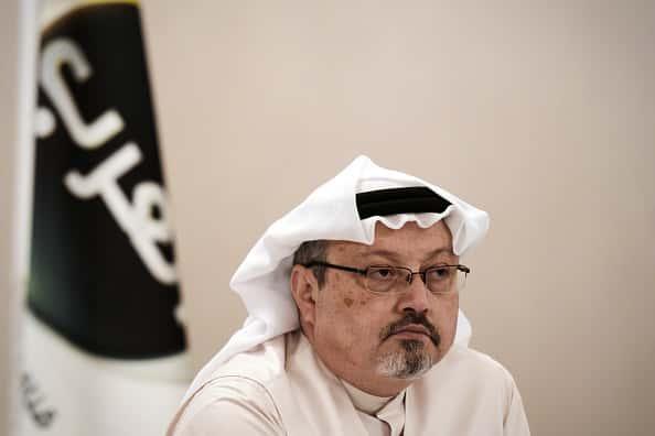 A photo of journalist Jamaal Khashoggi at a press conference