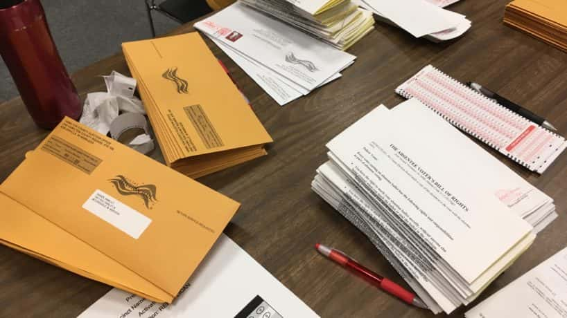 absentee ballots and envelopes