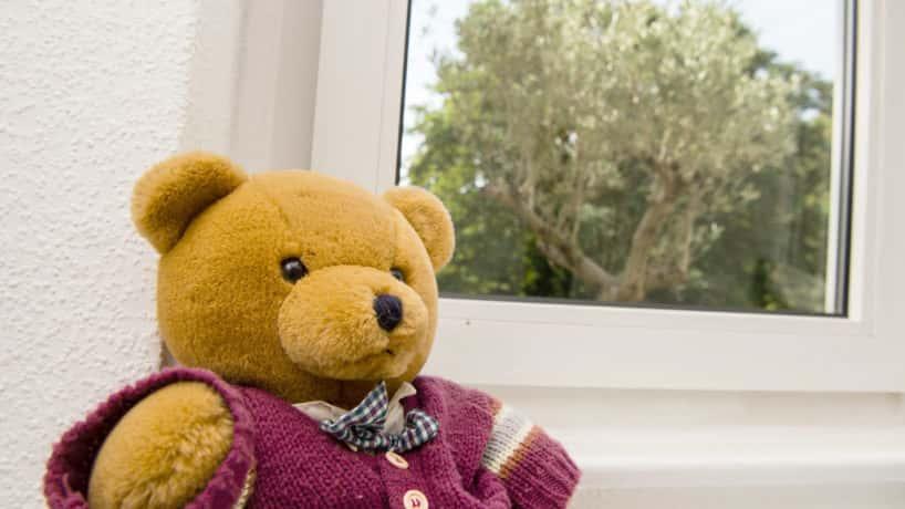 Teddy bear in purple sweater by window