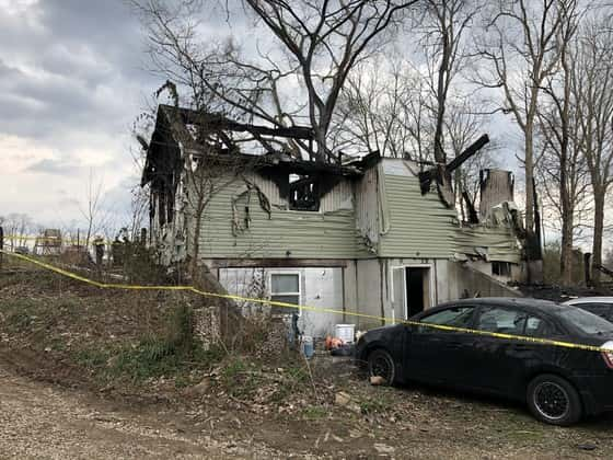 The house in Switzerland County were six people died, the house is burned