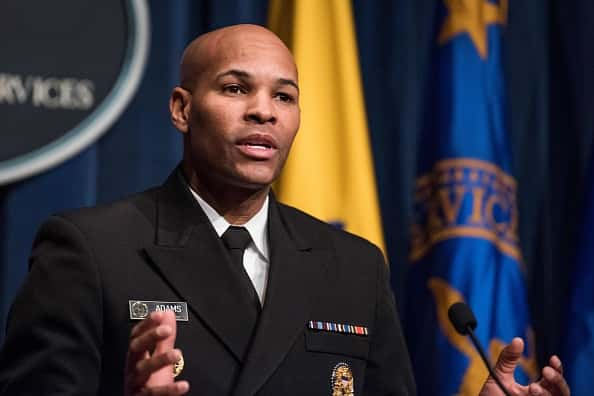 U.S. Surgeon General Jerome Adams speaking at a prior press conference