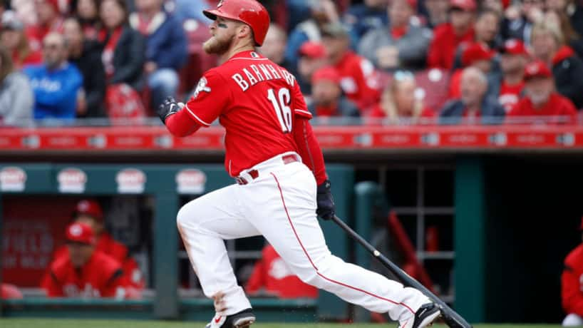 Tucker Barnhart #16 of the Cincinnati Reds hits a double to center in the sixth inning of the game against the Chicago Cubs at Great American Ball Park on April 2, 2018 in Cincinnati, Ohio.