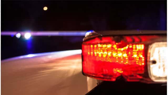 Illuminated police lights.