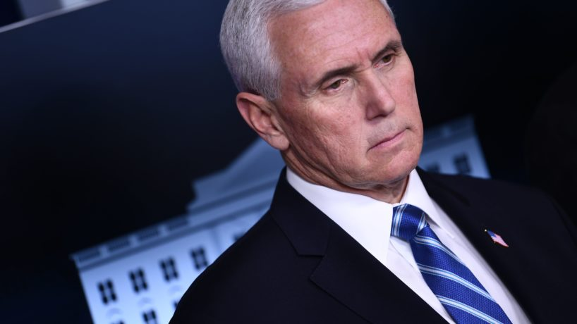 US Vice President Mike Pence looks on during the daily briefing on the novel coronavirus, COVID-19, at the White House on March 23, 2020, in Washington, DC.