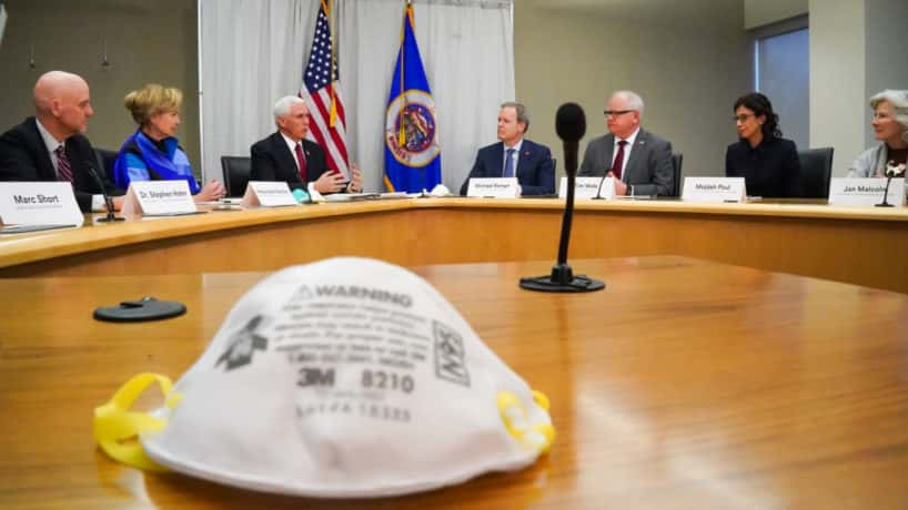 Maplewood, MN March 5: Vice president Mike Pence visited 3M World Headquarters in Maplewood, Minnesota, meeting with 3M leaders and Minnesota Governor Tim Walz to coordinate response to the COVID-19 virus.