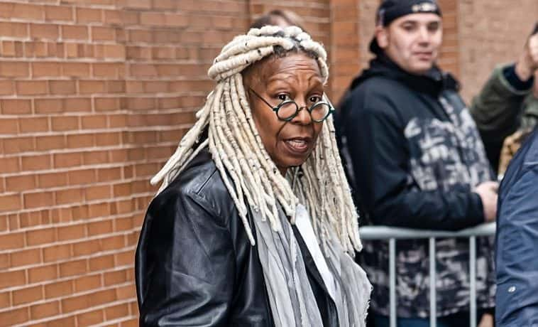 "FEBRUARY 05: Actress Whoopi Goldberg is seen leaving ABC's ""The View"" on February 05, 2020 in New York City."