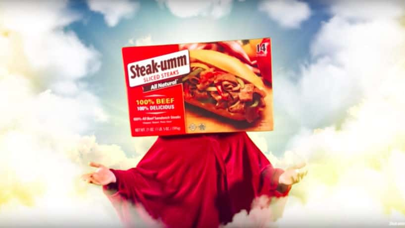 "A still from the ""Steak-umm Bless"" ad on YouTube. YouTube/Steakumm"