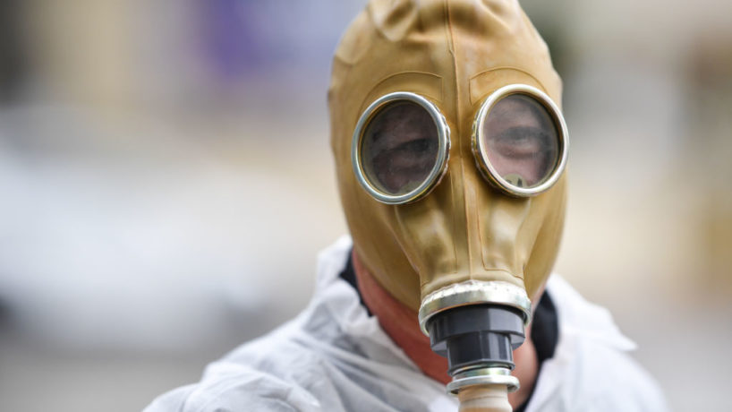 LOS ANGELES, CA - MARCH 10: Howie Mandel wears a gas mask costume on March 10, 2020 in Los Angeles, California. (Photo by PG/Bauer-Griffin/GC Images)