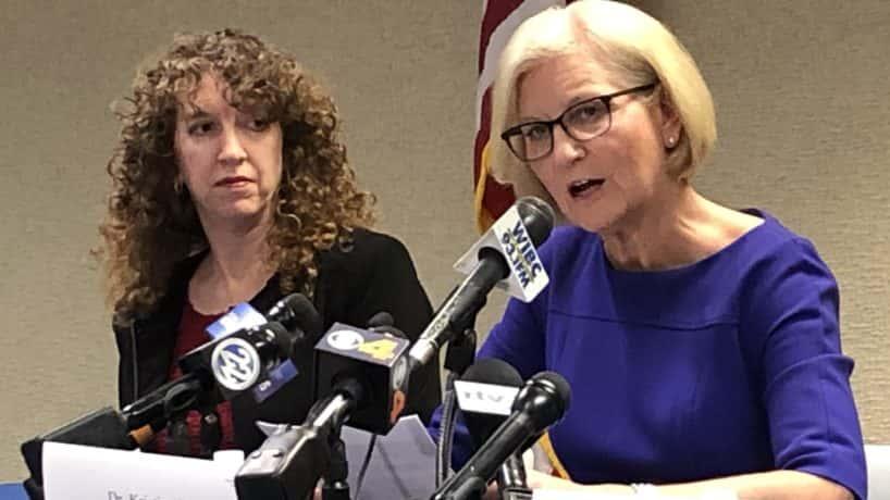 State health commissioner Kristina Box (right)