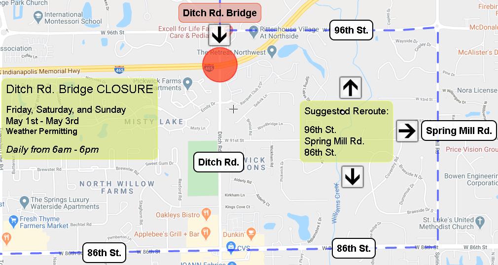 Ditch Rd. Bridge Closure