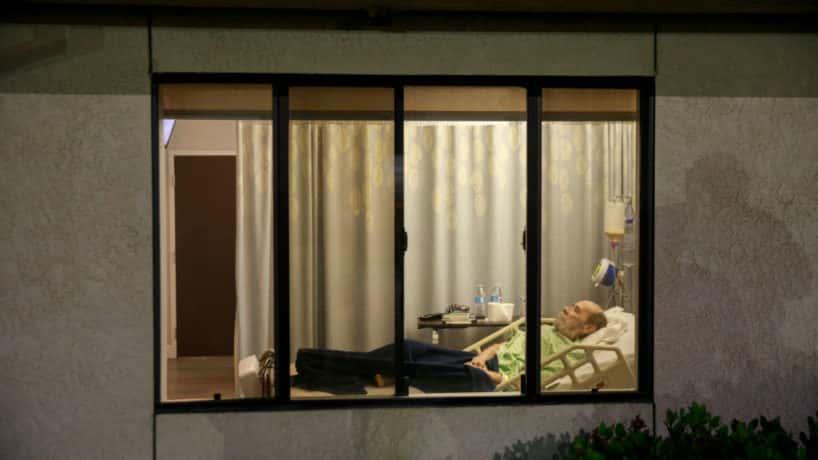 Man through window at nursing home