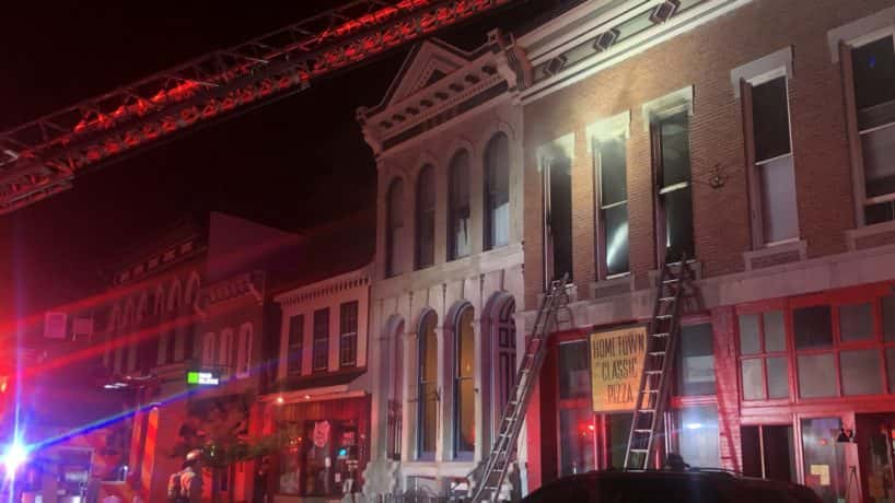 An image of the fire in downtown Greenfield.
