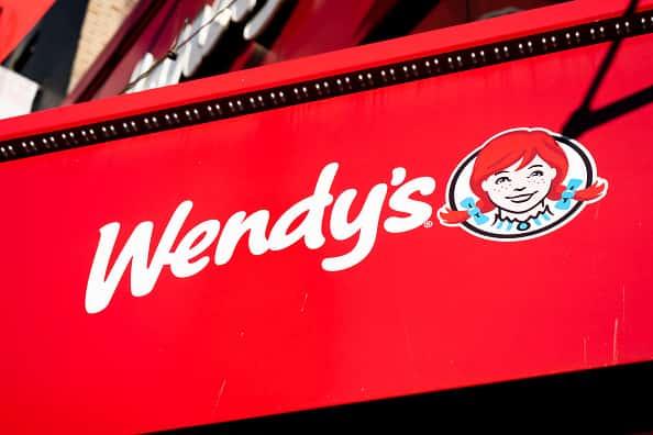 American international fast food restaurant chain Wendy's logo seen in Midtown Manhattan.