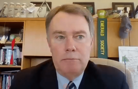 Indy Mayor Joe Hogsett in his office on Zoom