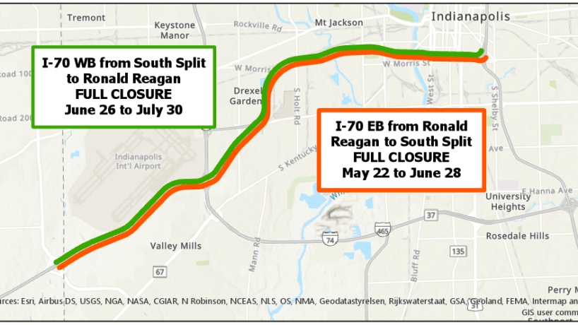 A map showing the scheduled road work on I-70 in Indianapolis.