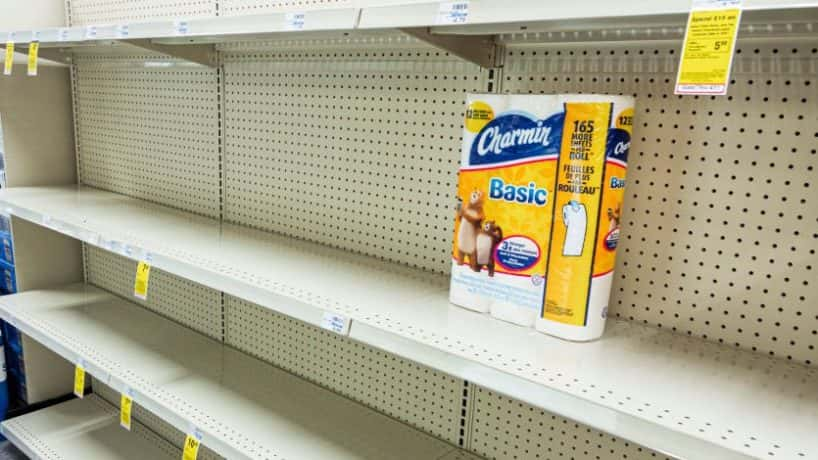 Miami Beach, CVS pharmacy, toilet paper aisle with only one item left. (Photo by: Jeffrey Greenberg/Education Images/Universal Images Group via Getty Images)