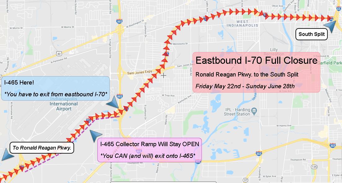 West Side Closure, Eastbound I-70