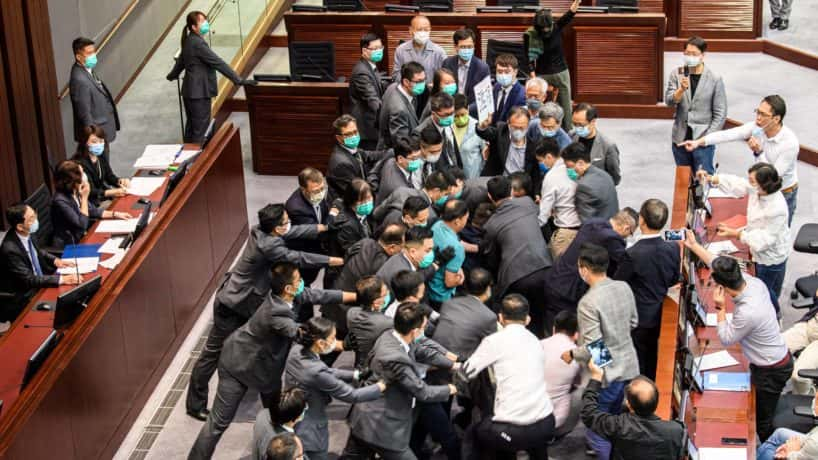 People scuffle in Hong Kong law building