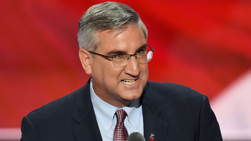 Indiana Lieutenant Governor Eric Holcomb speaks on the second day of the Republican National Convention at the Quicken Loans Arena in Cleveland on July 19, 2016. / AFP / JIM WATSON (Photo credit should read JIM WATSON/AFP via Getty Images)